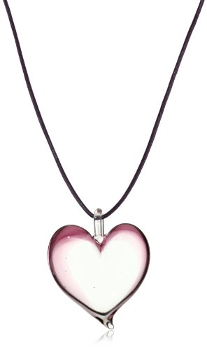 Yummi Glass Murano Glass Violet-Color Small Heart Pendant Necklace
