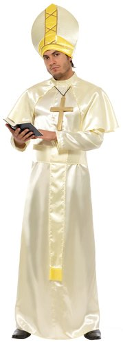 Mens White and Gold Complete Pope Halloween Costume Medium