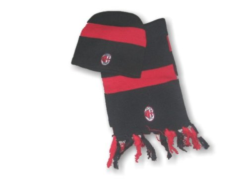 WOOLY AND SCARF SET : BLACK of AC MILAN
