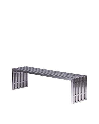 LeisureMod Eldert Gridiron Brushed Stainless Large Steel Bench, Silver