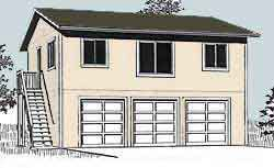 Garage Plans Three Car Two Story Garage With 2 Bedroom Garage ...