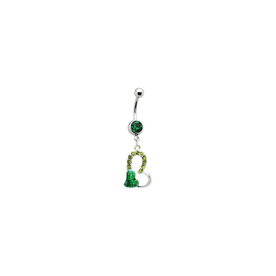 Emerald Green Gem Floating Hollow Heart Dangle Belly Ring Navel Body Jewelry