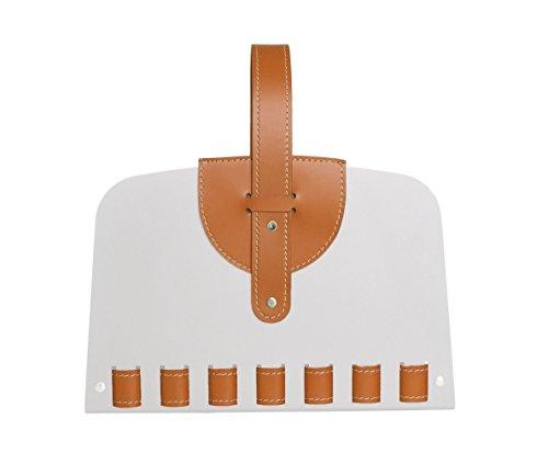 L-BAG 03: porte-revues en acier avec inserts en cuir, design by Limac.