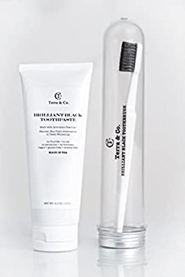 ACTIVATED CHARCOAL Toothpaste & Toothbrush For Intense TEETH WHITENING No Fluoride VEGAN GUTEN FREE