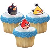 Angry Birds 12pc Durable Cupcake Rings Topper - Birthday Party Favors - Black, Yellow, Red Birds Toy / Game / Play / Child / Kid