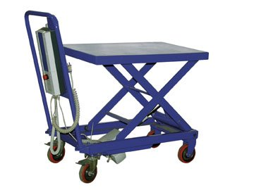 "Beacon Linear Actuated Elevating Cart; Platform Size (Wxl): 19-1/2"" X 32""; Raised Height: 35""; Lowered Height: 14""; Capacity (Lbs): 600; Model# Bcart-500-La"