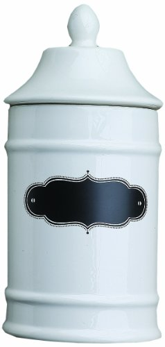 Creative Co-Op Chalkboard Front Ceramic Jar, Small