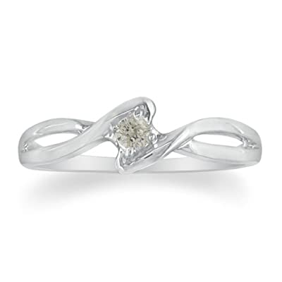 .07ct Diamond Promise Ring set in Sterling Silver ( Sizes 4 to 9): Jewelry