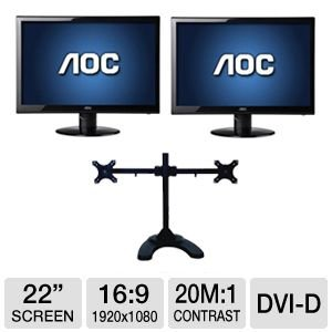 "Aoc 22"" Wide 1080P Led Monitor, Vga, Dvi Bundle"