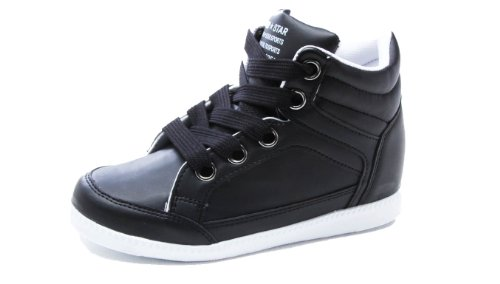 Nlovely Womens Hidden Wedge Platform Fashion Sneakers High Top Sheos (7.5, Black)
