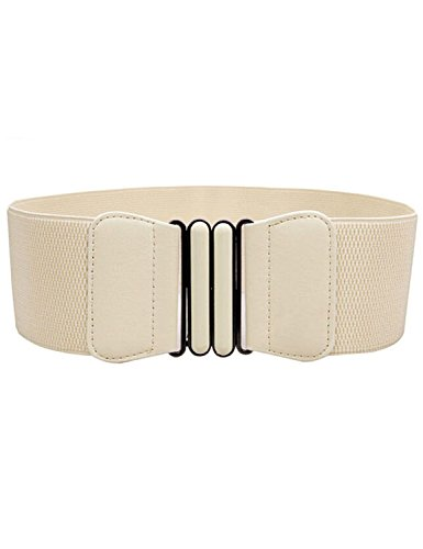 Pink Cookies Fashion Simple Dress Wide Elastic Stretch Waist Belt (white)