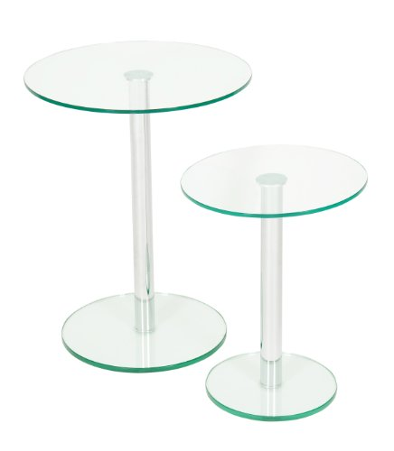 Levv Clear Glass and Chrome Round Side Tables with Glass, Set of 2, Clear