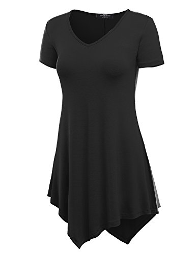 MBJ WT638  V Neck Asymmetrical Tunic Top XXXXXL BLACK
