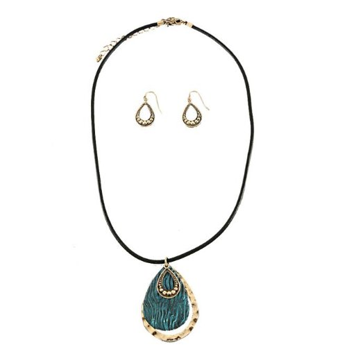 Black Cord Fashion Necklace With Blue Tear Shape Textured Pendant with Matching Earrings -15 Length