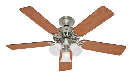 Hunter 26406 Architect Series Plus 52-Inch 5-Blade3-Light Ceiling Fan, Brushed Nickel with Chestnut/Maple Blades and Frosted Scalloped Glass Shades
