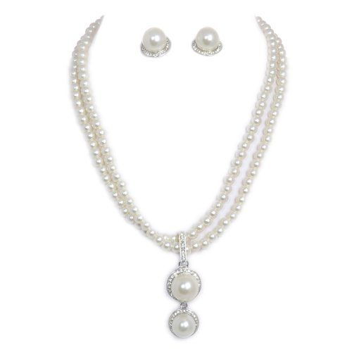 Double White Faux Pearl Strand With Dangle Pendant Necklace and Earring Set