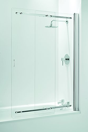 Coram Showers SSL2105CUC - Parete doccia a scorrimento per vasca da bagno, a doppia anta, in vetro trasparente (spessore 5 mm), 140 x 65-106,5 cm, finitura cromata