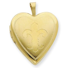 Genuine IceCarats Designer Jewelry Gift 1/20 Gold Filled 20Mm Fleur De Lis Heart Locket