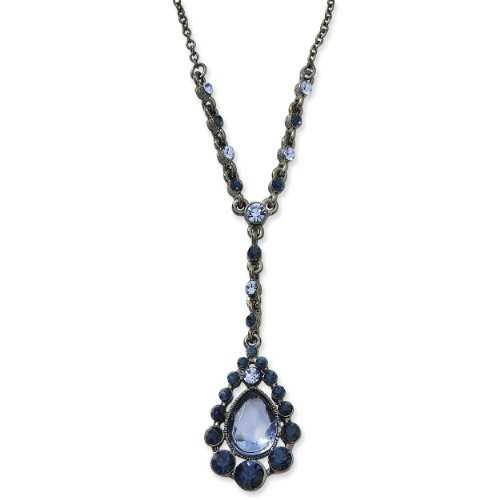 1928 Black-plated Light and Dark Blue Crystal Drop 16 Inch with Extension Y Necklace
