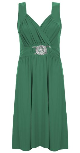 Womens Ladies Stretch Cross Over Wrap Buckle Tie Back Cocktail Dress Plus Size -JADE -UK20/22 (100% Polyester) Mesh Print Tie