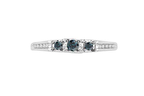 Platinum Plated Sterling Silver Blue And White Round Diamond Promise Ring (1/5 cttw)