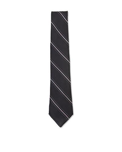 Kiton Men's Diagonal Striped Tie, Black/Grey