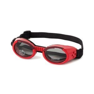 Dog Sunglasses With Metal Frame and Smoke Lens - Red, Medium