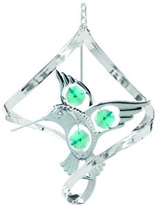 Chrome Plated Fantail Hummingbird Hanging Sun Catcher or Ornament..... With Green Color Swarovski Austrian Crystals