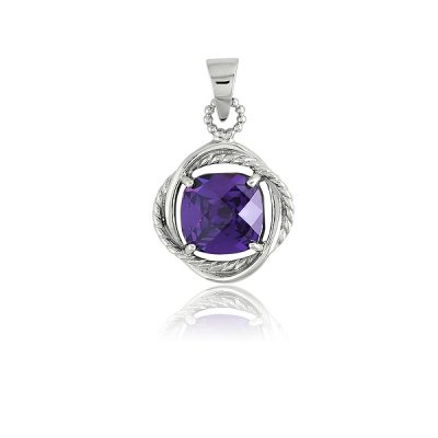 New Necklace Pendant Jewelry 925 Sterling Silver Center Amethyst Square CZ in Twisted Wire & Silver Circles Design(WoW !With Purchase Over $50 Receive A Marcrame Bracelet Free)