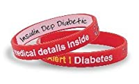 """Mediband -Silicone Medical ID Write on """"Diabetes"""" Band- Red by Hope Paige Medical"""