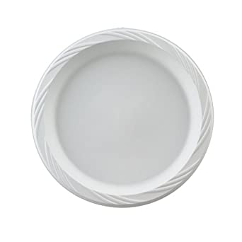 "Huhtamaki HUH 82206 Chinet 6"" White Color Popular Choice Light Weight Plastic Round Plate (8 Packs of 125)"