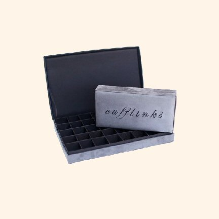 Cufflink Box - Slate - 21 compartments