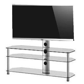 RO & Co mst-3133TG Waschtisch TV 3-Regal mit TV-Halterung. Glas transparent Gehäuse/grau. Breite 130cms.