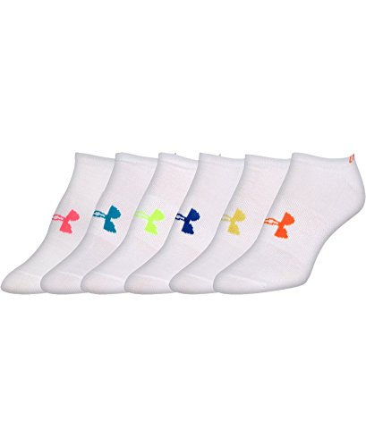 Under Armour Women's Liner No-Show Socks (6 Pairs), White/Assorted Colors, Medium