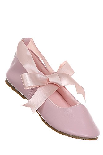 Ballerina Shoes Ribbon Tie Flower Girl Ballet Flats Holy Communion Baptism Pink front-1069941