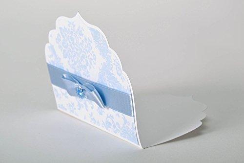 Invitation au mariage artisanale bleu et blanc