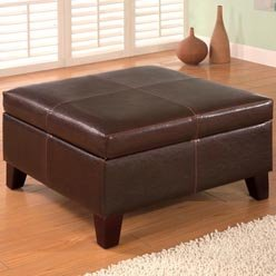 Storage Ottoman - Faux Leather Ottoman - ottoman; upholstered ottoman; square...
