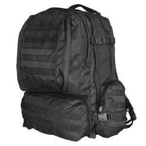 Four Person Bugout Bag / Survival Tactical Bug Out Bag (Basic) With Fox Tactical Advanced 3-Day Combat Pack Loaded With Emergency Food (Sos Food Labs 2400 Calorie Bars, Mre Star Mres), Sos Food Labs Emergency Drinking Water Packets, Adventure Medical Kits