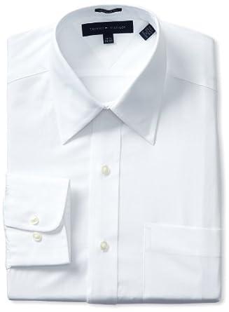 Tommy Hilfiger Men's Poplin Solid, White, 15 32-33