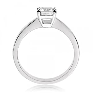 Diamond Manufacturers - Bague de fiançailles avec diamant Émeraude Femme - Or blanc 750/1000 (18 cts) - Diamant 0.25 ct
