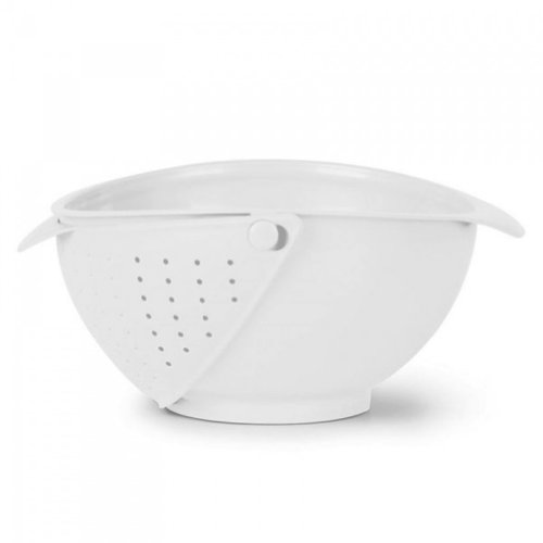 Innovative Rinse Bowl and Strainer in One (White)