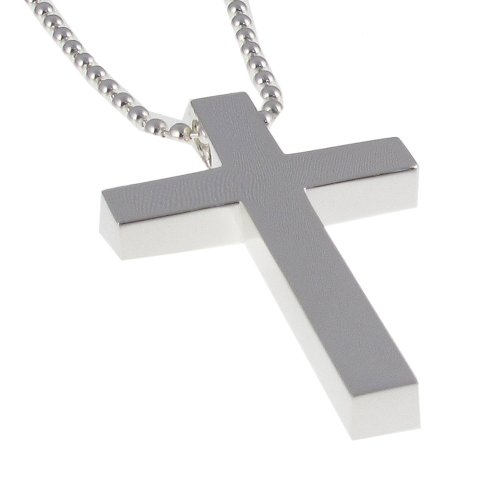 Sterling Silver Solid Cross with Ball Chain