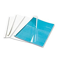 Thermal Binding System Covers, 30 Sheets, 11 x 8 1/2, Clear/White, 10/Pack, Sold as 10 Each