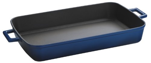 Lava Signature Enameled Cast-Iron Rectangular Baking Dish - 10 X 16 Inch, Cobalt Blue front-1694