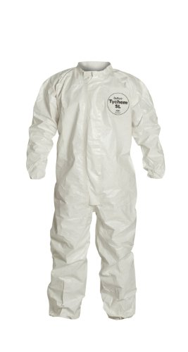 DuPont Tychem SL125T SL Disposable Coverall, Elastic Cuff, White, 4XL (Pack of 6)