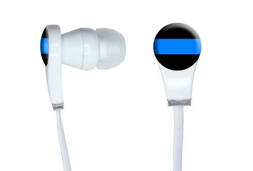 Graphics And More Thin Blue Line - Police Policemen Novelty In-Ear Headphones Earbuds - Non-Retail Packaging - White