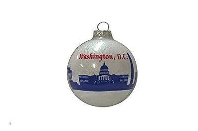 """Christmas Nation's Capital Ornament Holiday Washington D.C. Ornament Christmas Tree Ornament (3"""" Round Ball Glass)"""