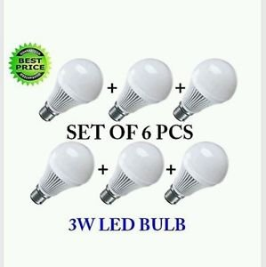 3W B22 LED Bulb (Cool Day Light, Pack of 6)