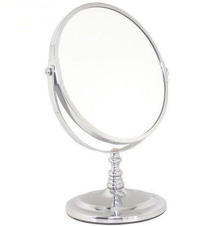 Stainless Steel Sided Portable Desktop Makeup Mirror Vanity Bathroom Mirror front-956239