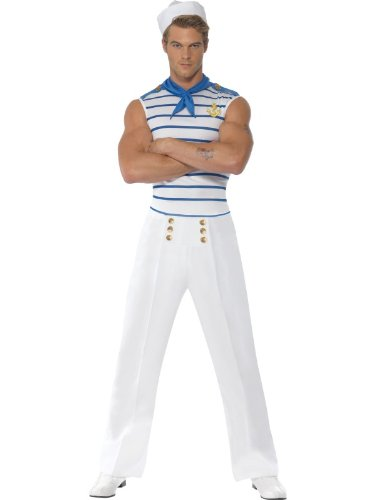 "Smiffys White/Blue Fever Men's French Sailor Costume - Chest 34""-36"""
